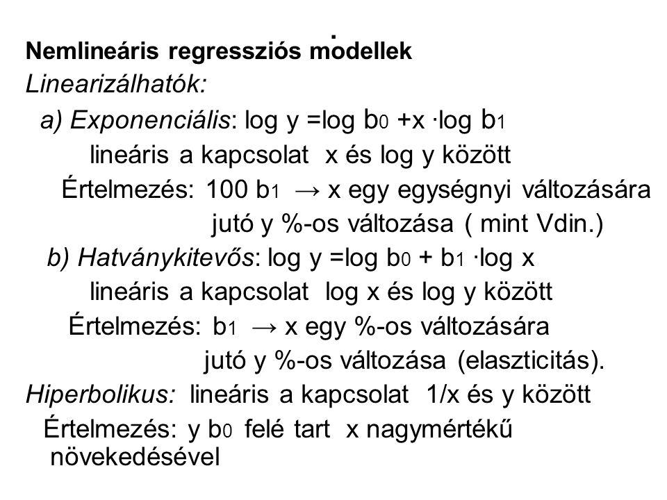 . Linearizálhatók: a) Exponenciális: log y =log b0 +x ∙log b1