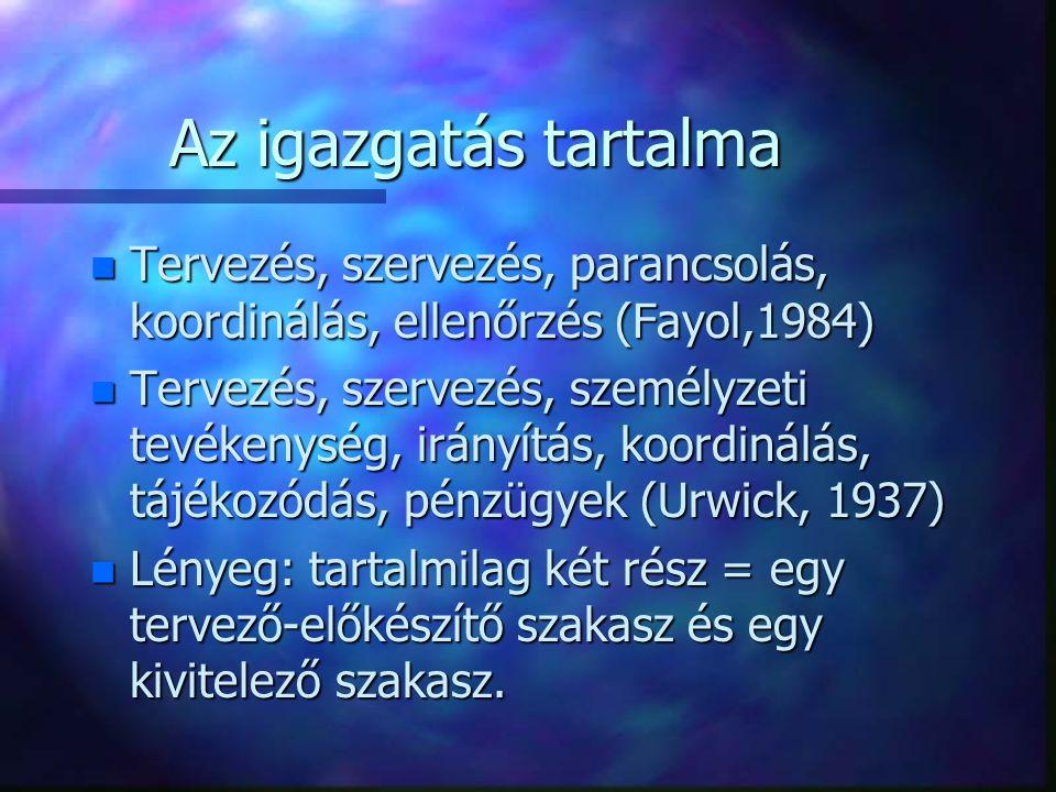 Az igazgatás tartalma Tervezés, szervezés, parancsolás, koordinálás, ellenőrzés (Fayol,1984)