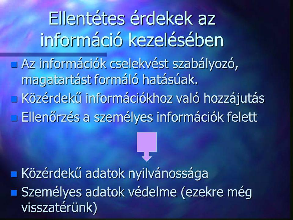 Ellentétes érdekek az információ kezelésében