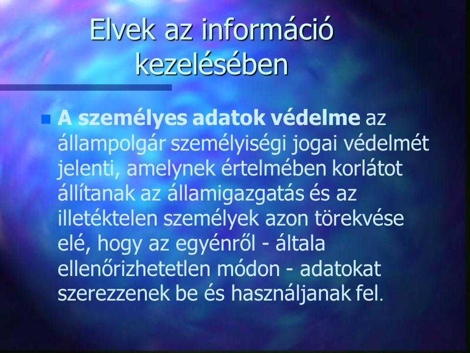 Elvek az információ kezelésében