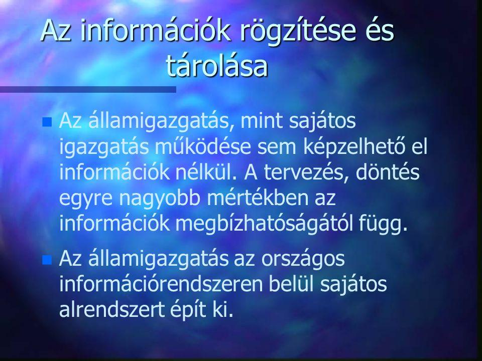 Az információk rögzítése és tárolása