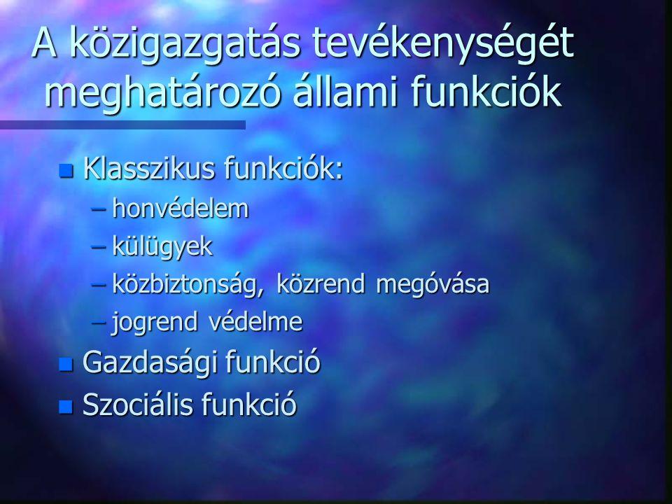 A közigazgatás tevékenységét meghatározó állami funkciók