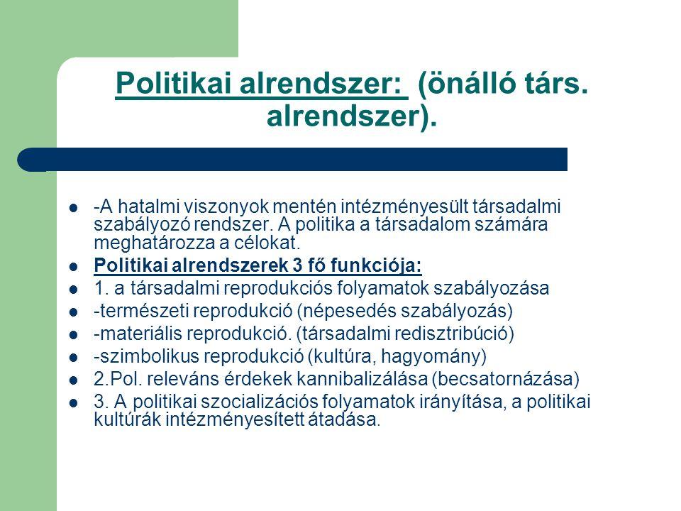 Politikai alrendszer: (önálló társ. alrendszer).