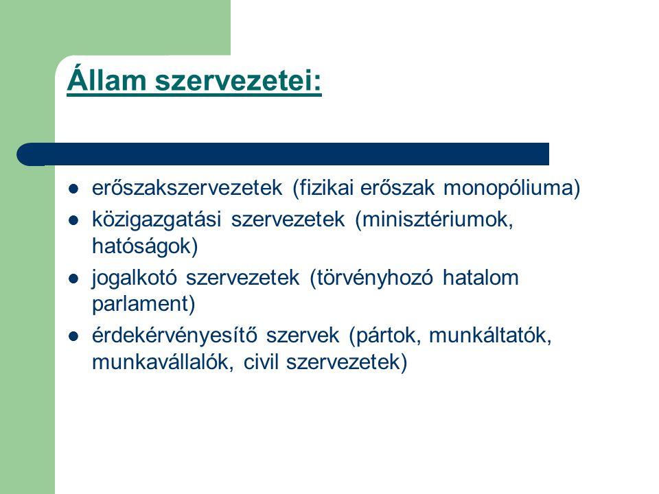 Állam szervezetei: erőszakszervezetek (fizikai erőszak monopóliuma)