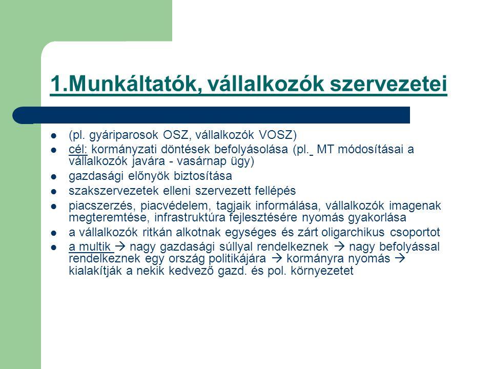 1.Munkáltatók, vállalkozók szervezetei