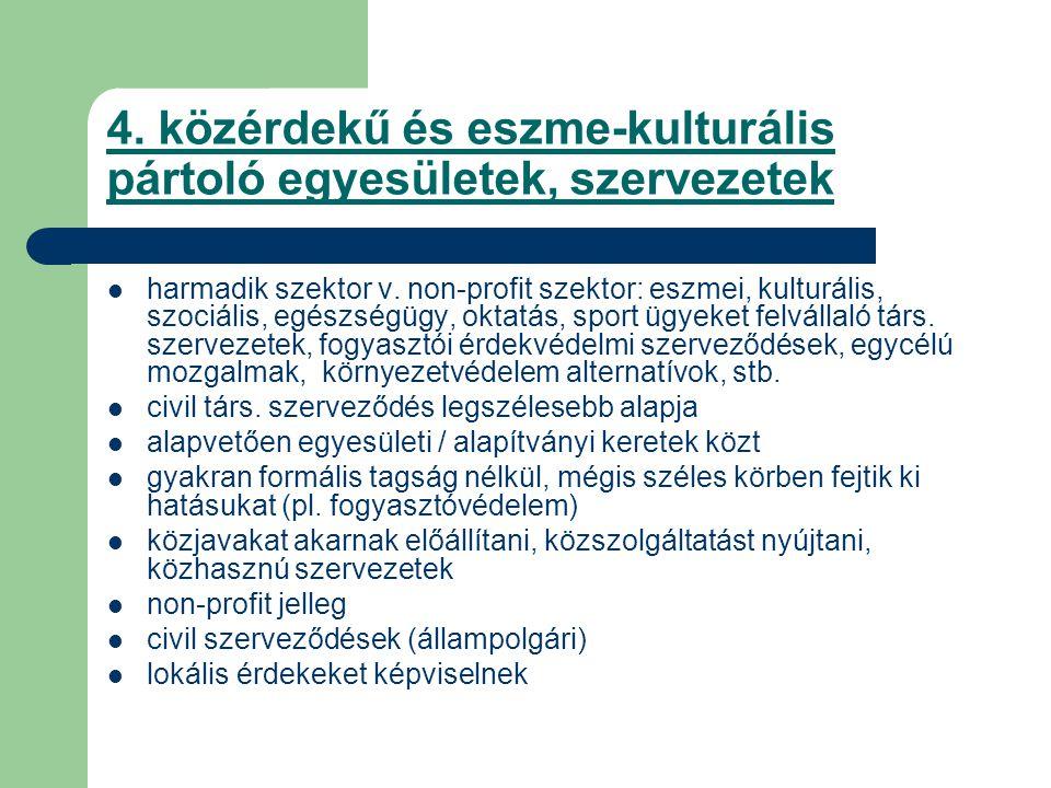 4. közérdekű és eszme-kulturális pártoló egyesületek, szervezetek