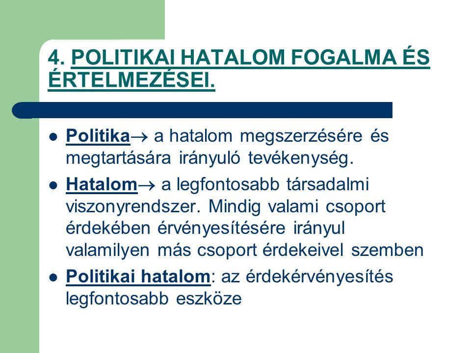 4. POLITIKAI HATALOM FOGALMA ÉS ÉRTELMEZÉSEI.