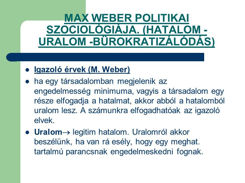 MAX WEBER POLITIKAI SZOCIOLÓGIÁJA. (HATALOM -URALOM -BÜROKRATIZÁLÓDÁS)