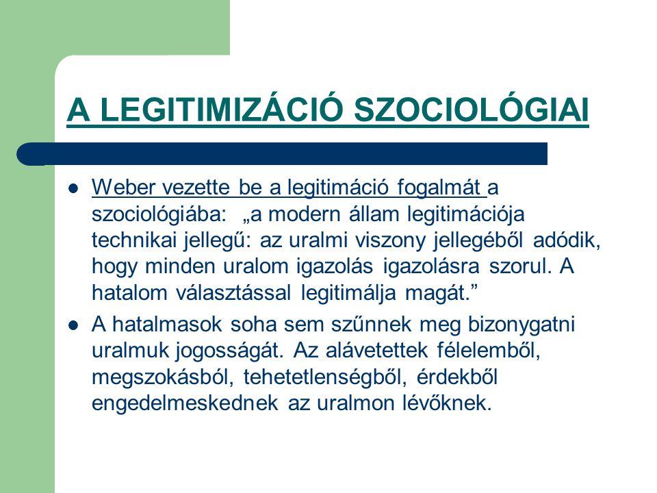A LEGITIMIZÁCIÓ SZOCIOLÓGIAI