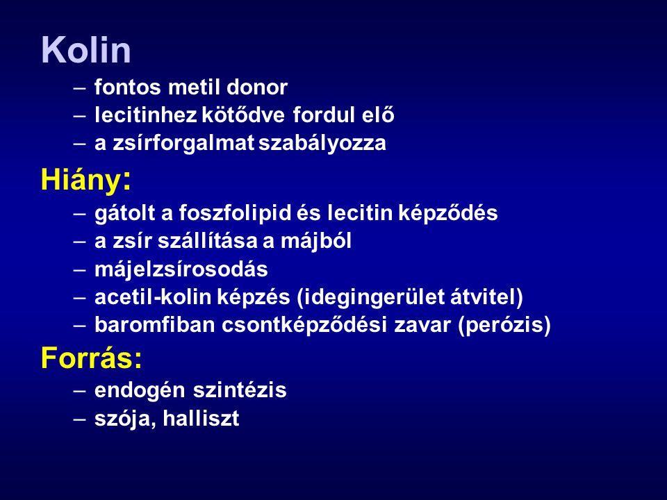 Kolin Hiány: Forrás: fontos metil donor lecitinhez kötődve fordul elő