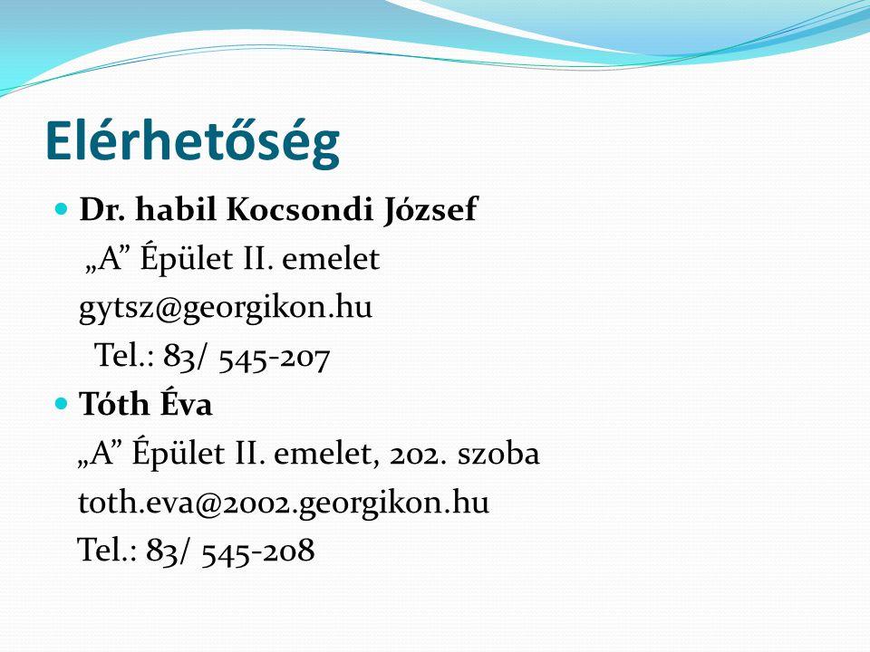 """Elérhetőség Dr. habil Kocsondi József """"A Épület II. emelet"""