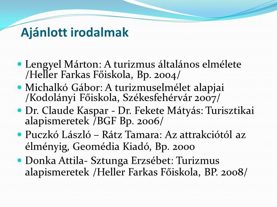 Ajánlott irodalmak Lengyel Márton: A turizmus általános elmélete /Heller Farkas Főiskola, Bp. 2004/