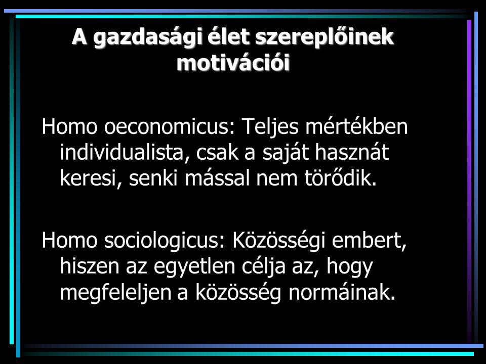 A gazdasági élet szereplőinek motivációi