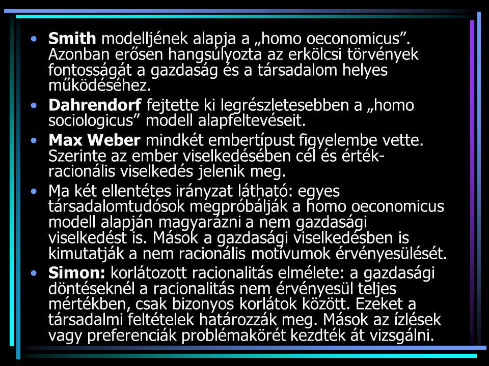 "Smith modelljének alapja a ""homo oeconomicus"