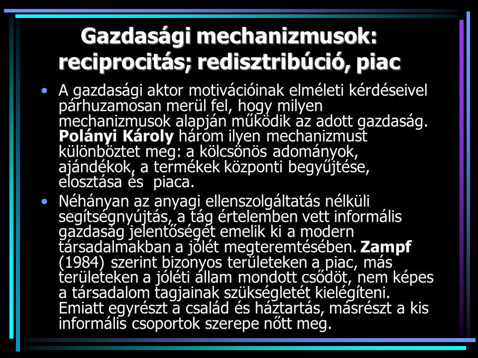 Gazdasági mechanizmusok: reciprocitás; redisztribúció, piac