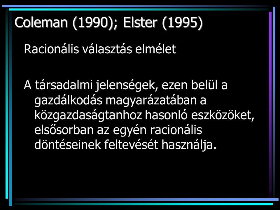 Coleman (1990); Elster (1995) Racionális választás elmélet