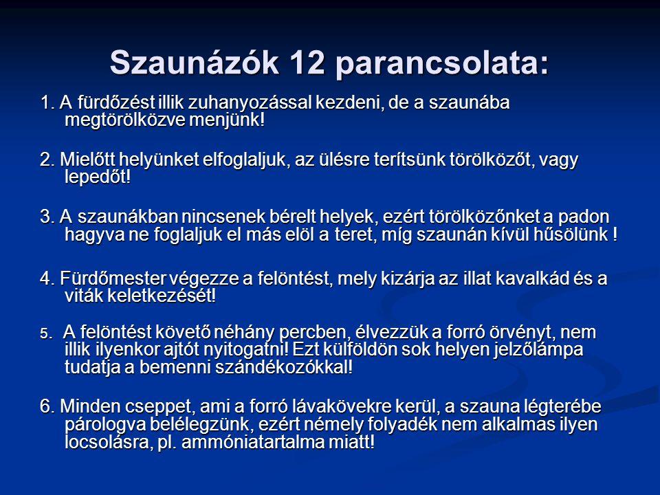 Szaunázók 12 parancsolata: