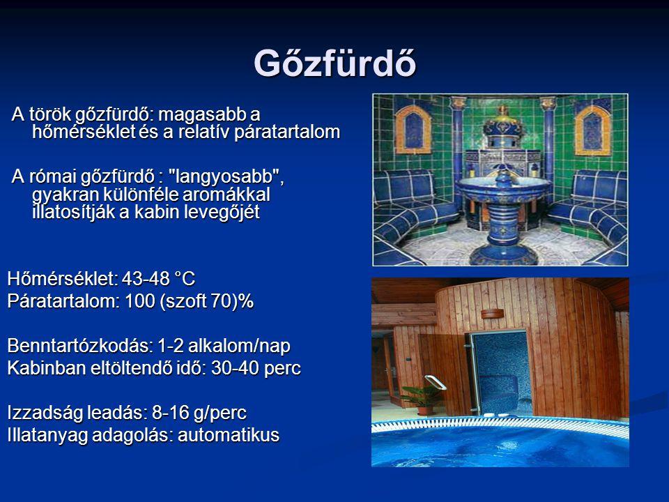 Gőzfürdő A török gőzfürdő: magasabb a hőmérséklet és a relatív páratartalom.