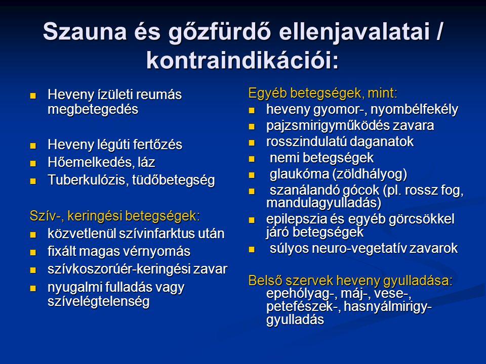 Szauna és gőzfürdő ellenjavalatai / kontraindikációi: