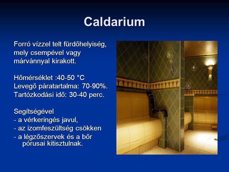 Caldarium Forró vízzel telt fürdőhelyiség, mely csempével vagy