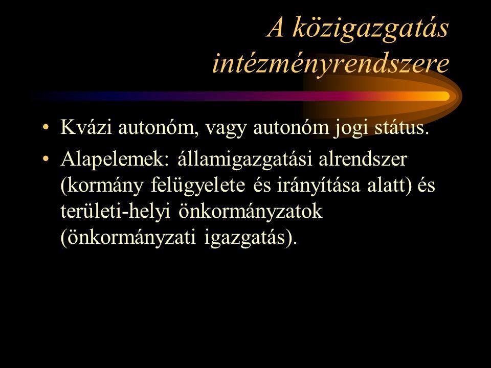 A közigazgatás intézményrendszere