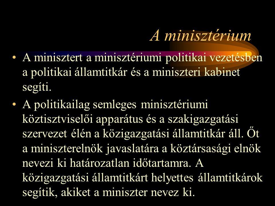 A minisztérium A minisztert a minisztériumi politikai vezetésben a politikai államtitkár és a miniszteri kabinet segíti.
