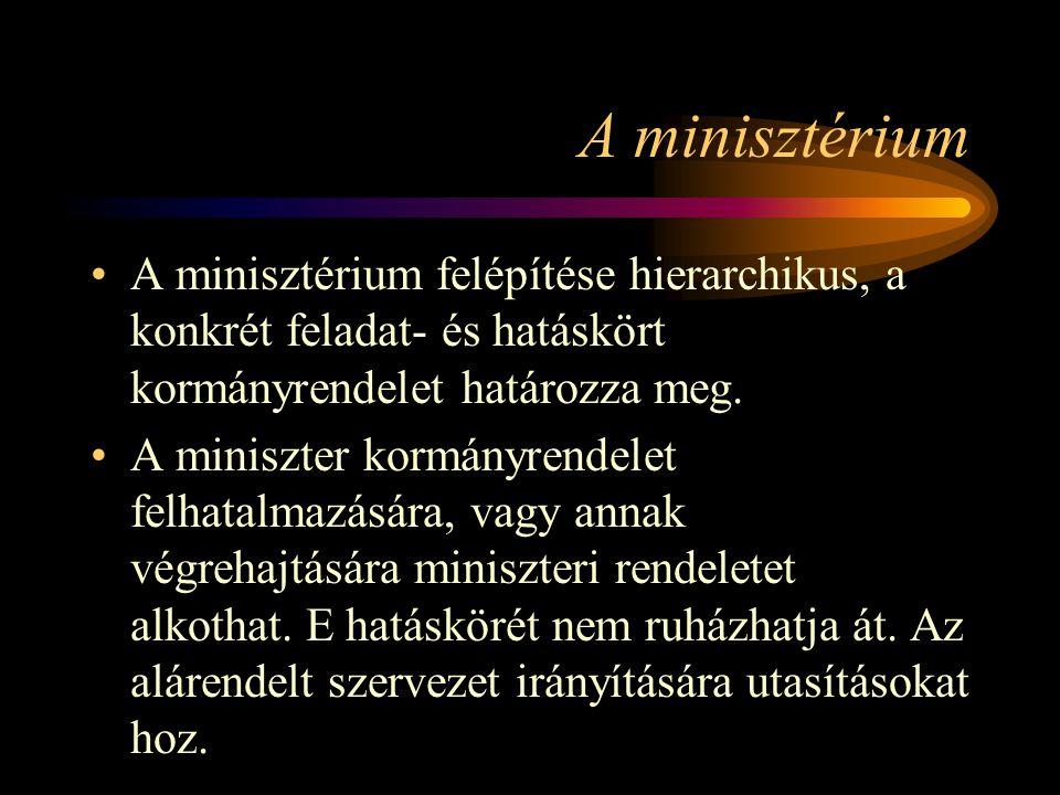 A minisztérium A minisztérium felépítése hierarchikus, a konkrét feladat- és hatáskört kormányrendelet határozza meg.