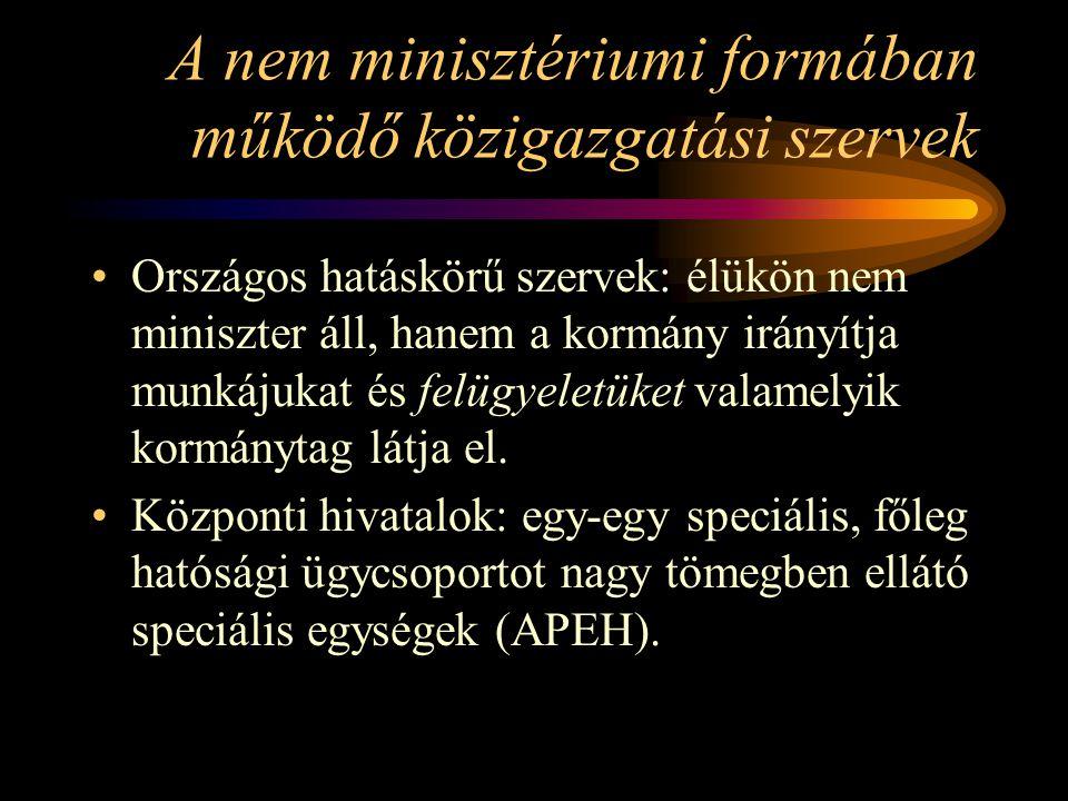 A nem minisztériumi formában működő közigazgatási szervek