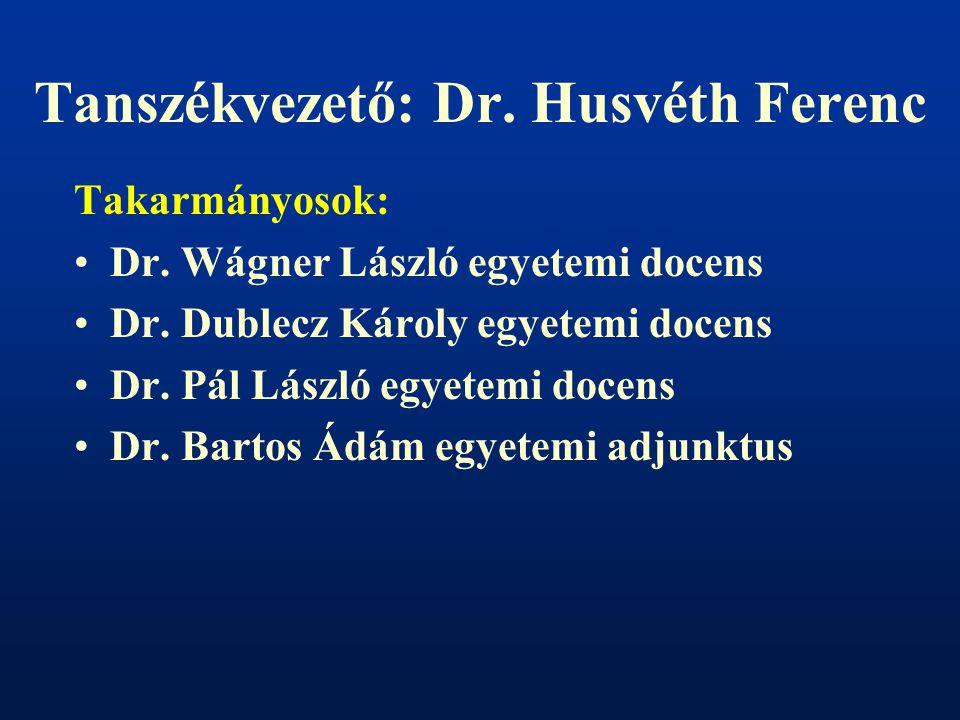 Tanszékvezető: Dr. Husvéth Ferenc