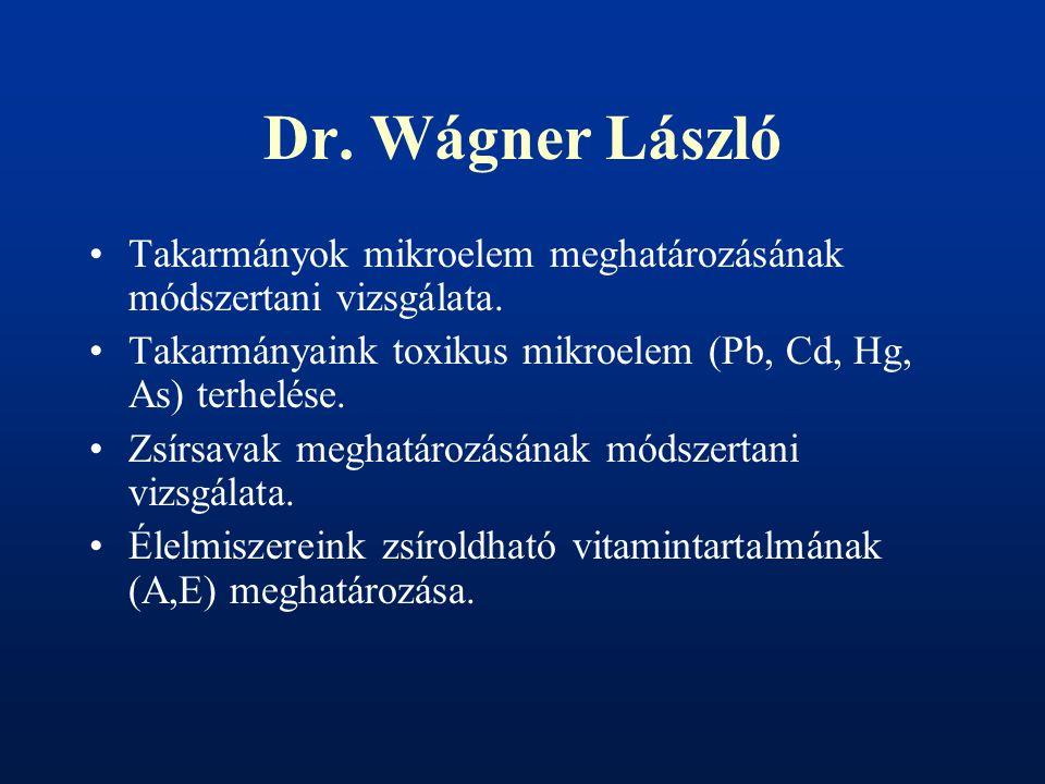 Dr. Wágner László Takarmányok mikroelem meghatározásának módszertani vizsgálata. Takarmányaink toxikus mikroelem (Pb, Cd, Hg, As) terhelése.
