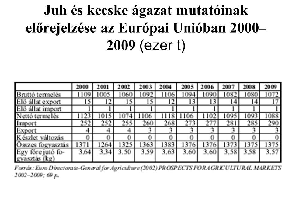 Juh és kecske ágazat mutatóinak előrejelzése az Európai Unióban 2000–2009 (ezer t)