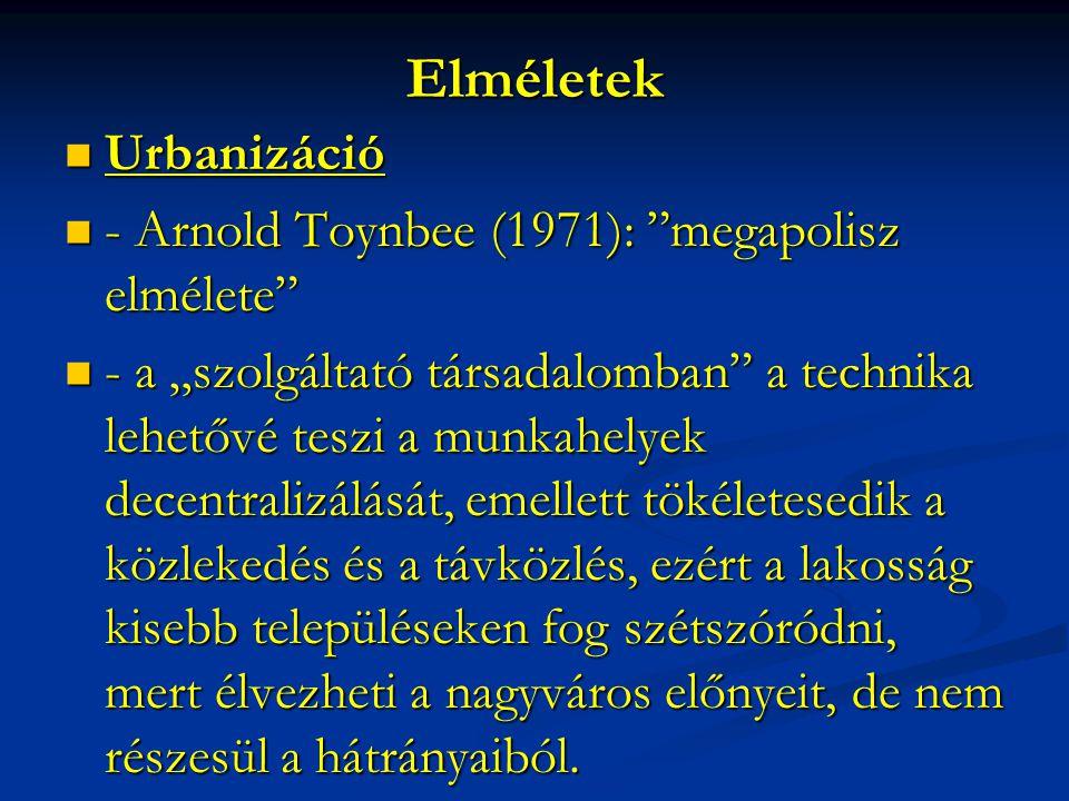 Elméletek Urbanizáció - Arnold Toynbee (1971): megapolisz elmélete
