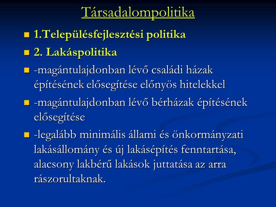Társadalompolitika 1.Településfejlesztési politika 2. Lakáspolitika