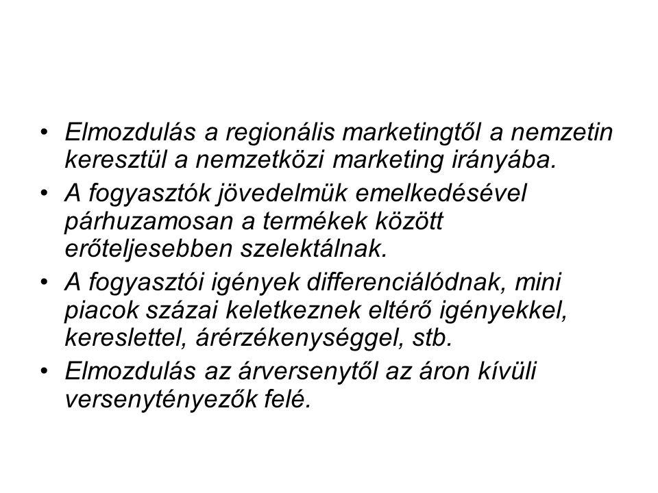 Elmozdulás a regionális marketingtől a nemzetin keresztül a nemzetközi marketing irányába.