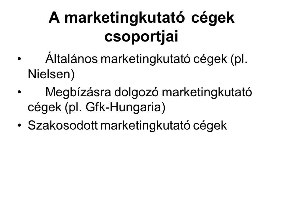 A marketingkutató cégek csoportjai