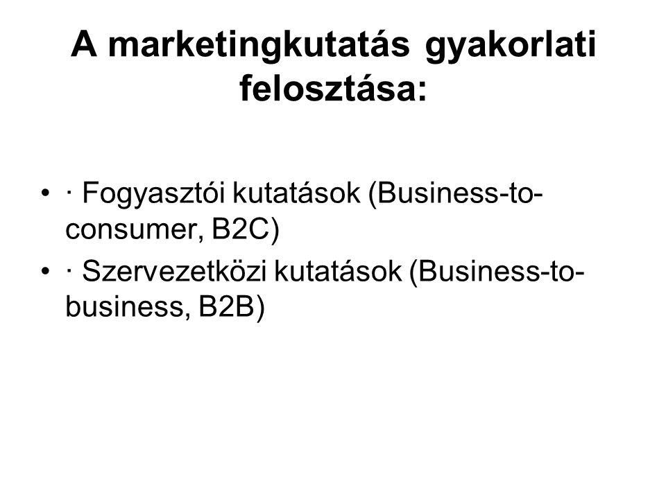 A marketingkutatás gyakorlati felosztása: