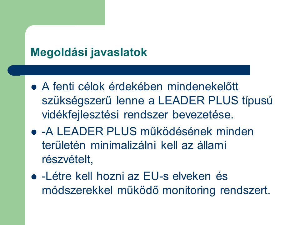 Megoldási javaslatok A fenti célok érdekében mindenekelőtt szükségszerű lenne a LEADER PLUS típusú vidékfejlesztési rendszer bevezetése.