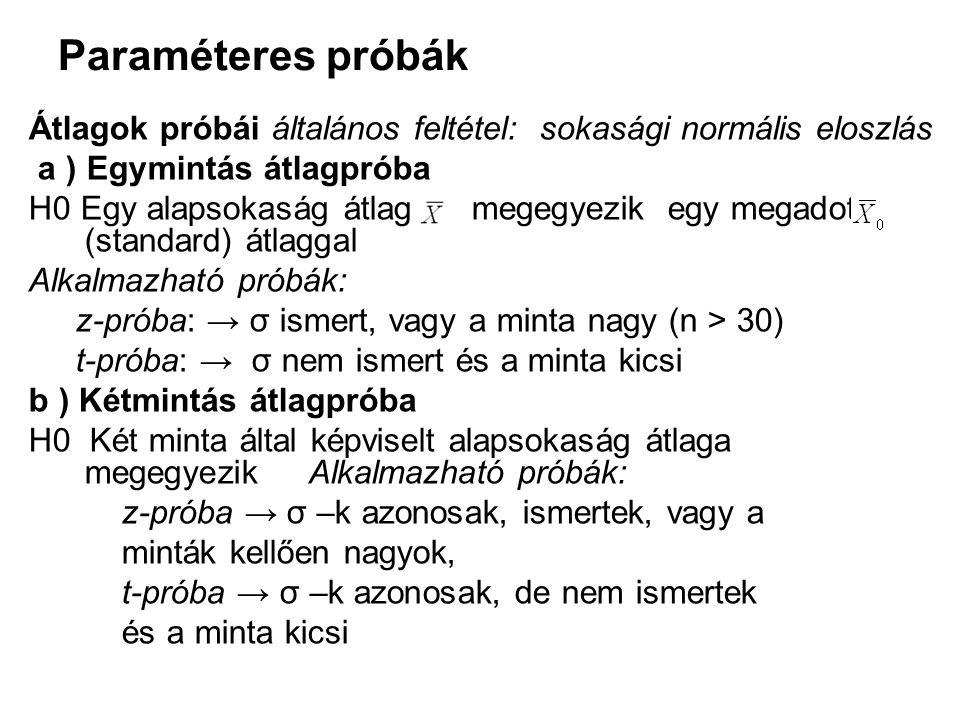 Paraméteres próbák Átlagok próbái általános feltétel: sokasági normális eloszlás. a ) Egymintás átlagpróba.