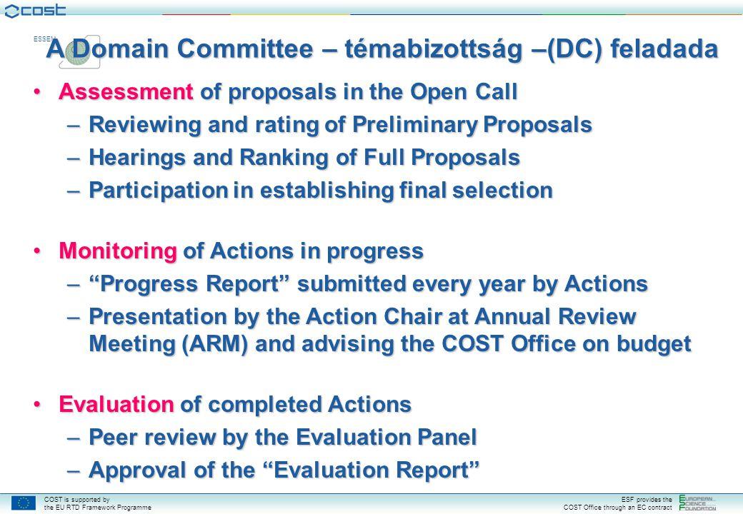 A Domain Committee – témabizottság –(DC) feladada