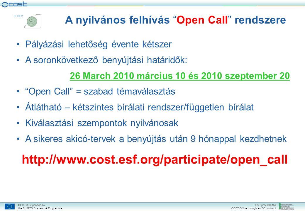 A nyilvános felhívás Open Call rendszere
