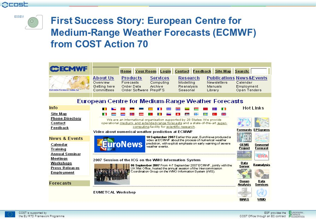 First Success Story: European Centre for Medium-Range Weather Forecasts (ECMWF) from COST Action 70