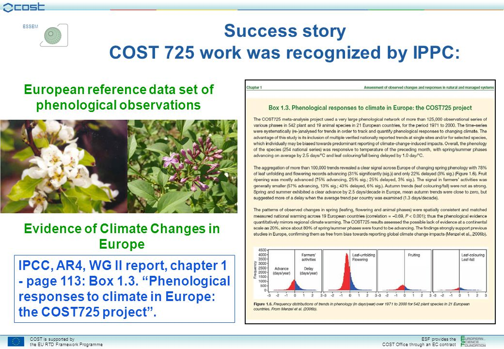 Success story COST 725 work was recognized by IPPC: