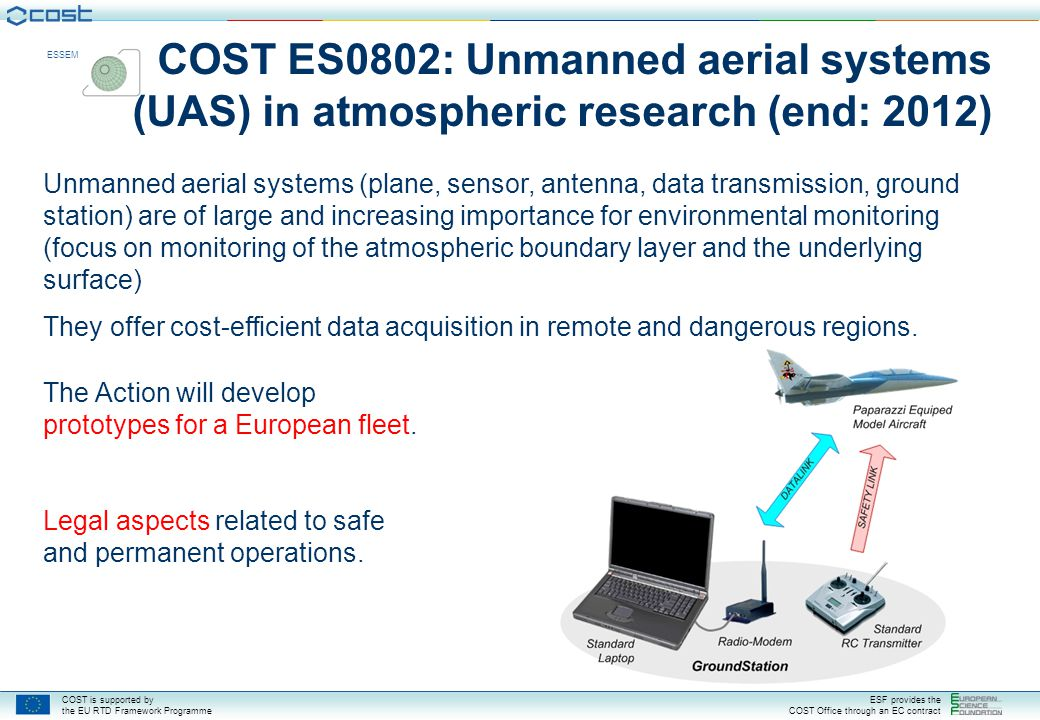 COST ES0802: Unmanned aerial systems (UAS) in atmospheric research (end: 2012)
