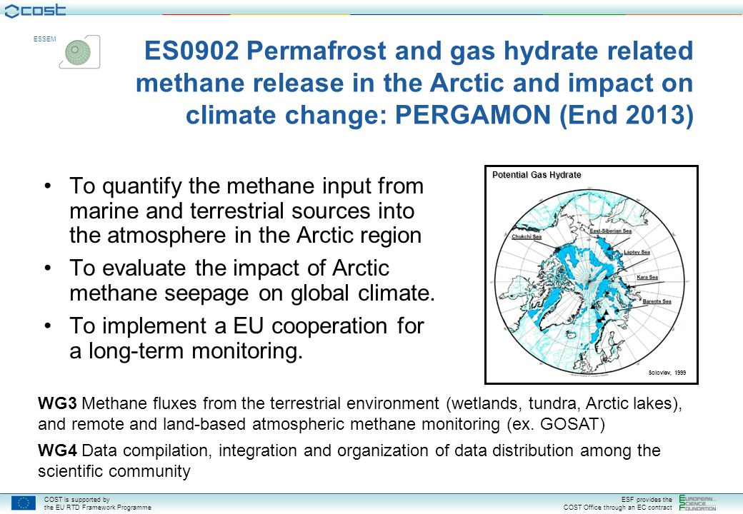 ES0902 Permafrost and gas hydrate related methane release in the Arctic and impact on climate change: PERGAMON (End 2013)