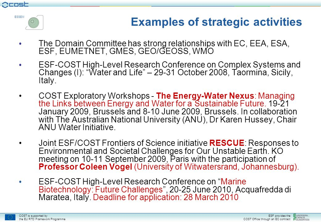 Examples of strategic activities