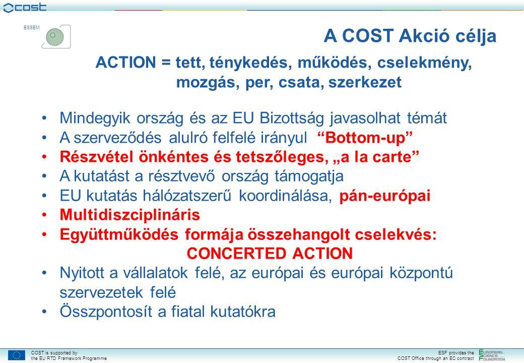 A COST Akció célja ACTION = tett, ténykedés, működés, cselekmény, mozgás, per, csata, szerkezet.