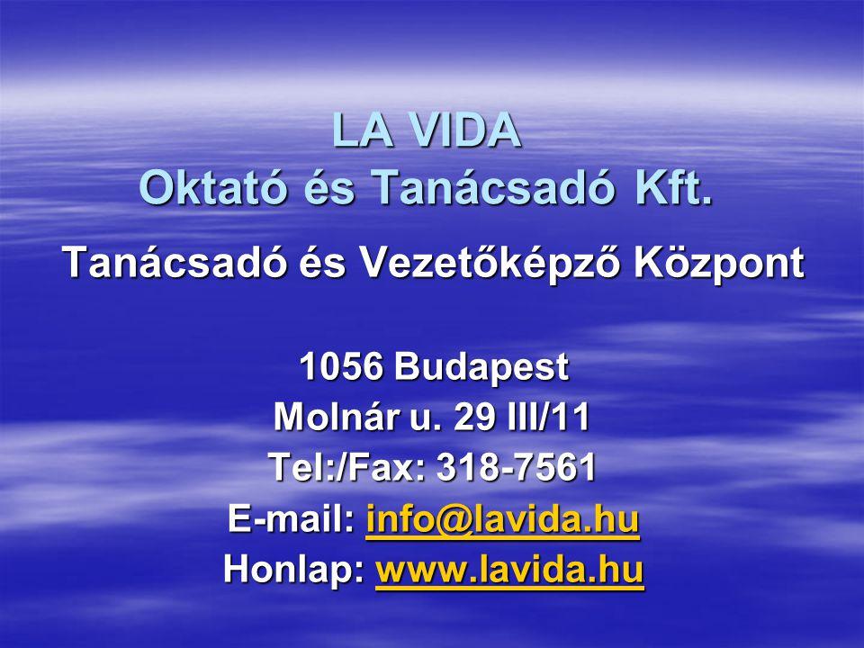 LA VIDA Oktató és Tanácsadó Kft.