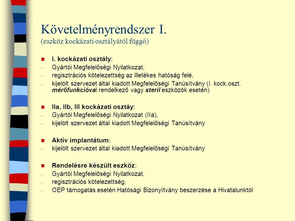 Követelményrendszer I. (eszköz kockázati osztályától függő)