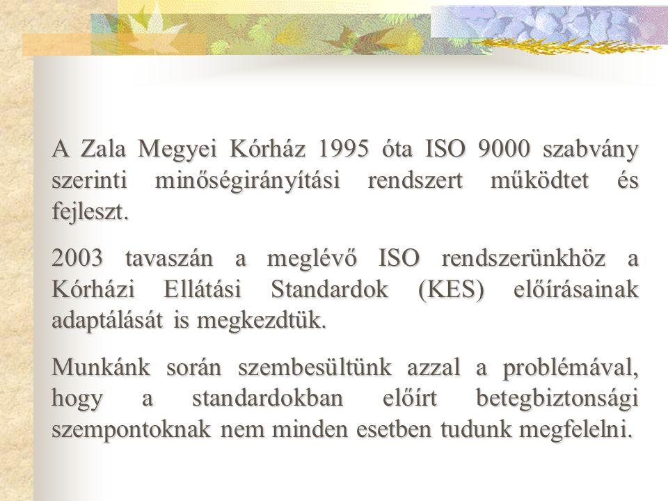 A Zala Megyei Kórház 1995 óta ISO 9000 szabvány szerinti minőségirányítási rendszert működtet és fejleszt.