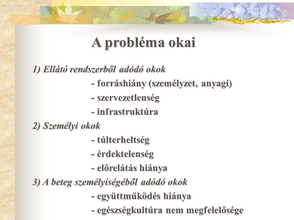 A probléma okai 1) Ellátó rendszerből adódó okok